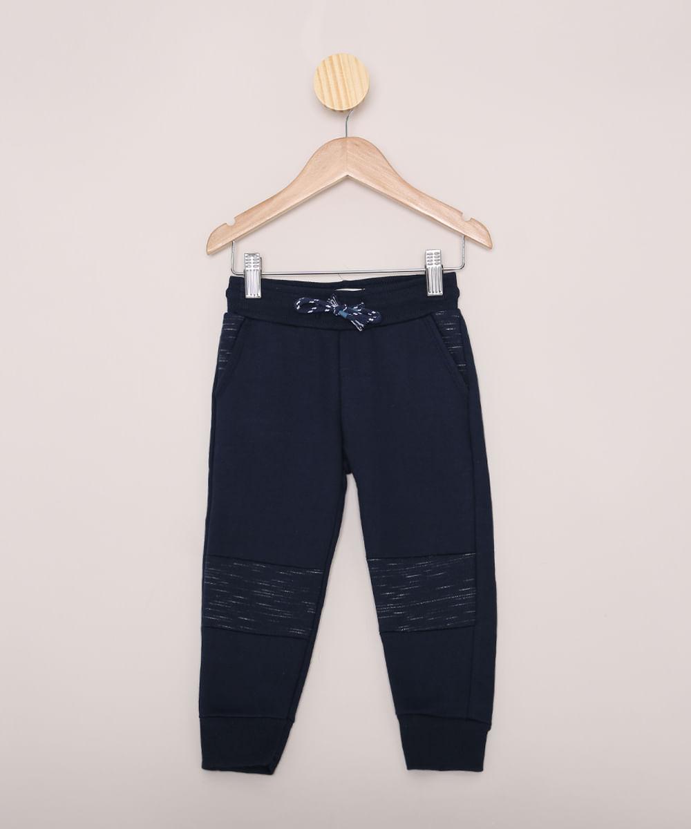 Calça de Moletom Infantil Jogger com Recorte Azul Marinho