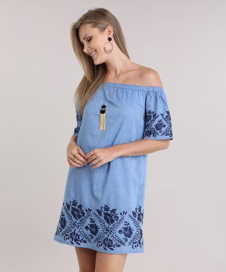 Vestido-Jeans-Ombro-a-Ombro-com-Bordado-Floral-Azul-Claro-8797506-Azul_Claro_1