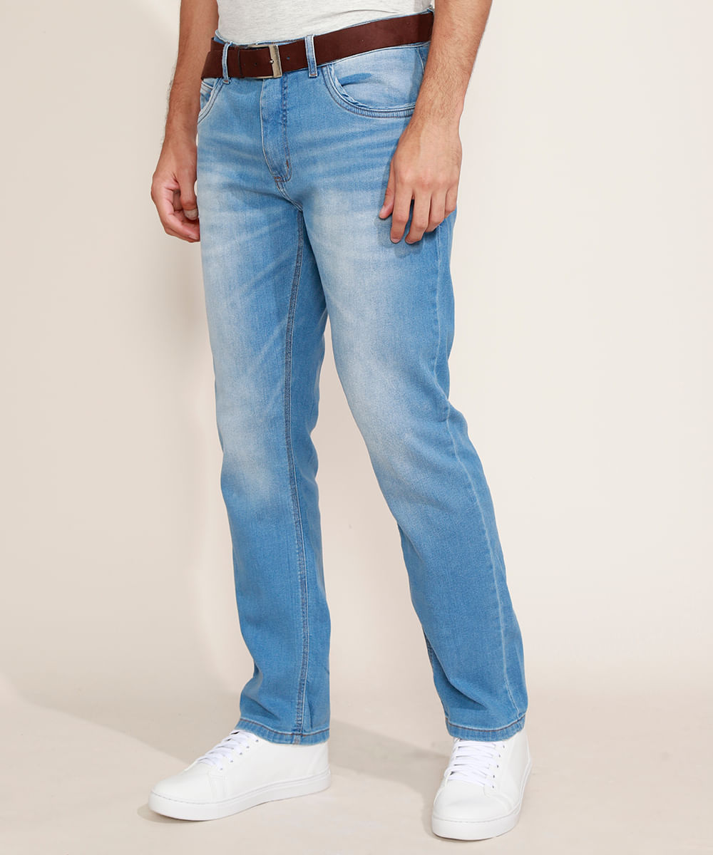 Calça Jeans Masculina Reta com Cinto Azul Claro