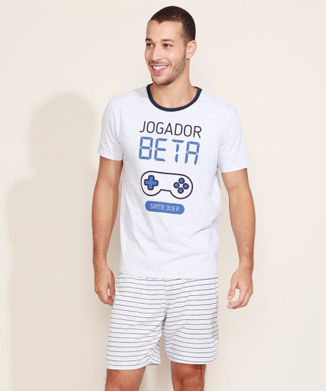 Pijama-Masculino--Jogador-Beta--Video-Game-com-Listras-Manga-Curta-Cinza-Mescla-Claro-9969156-Cinza_Mescla_Claro_1