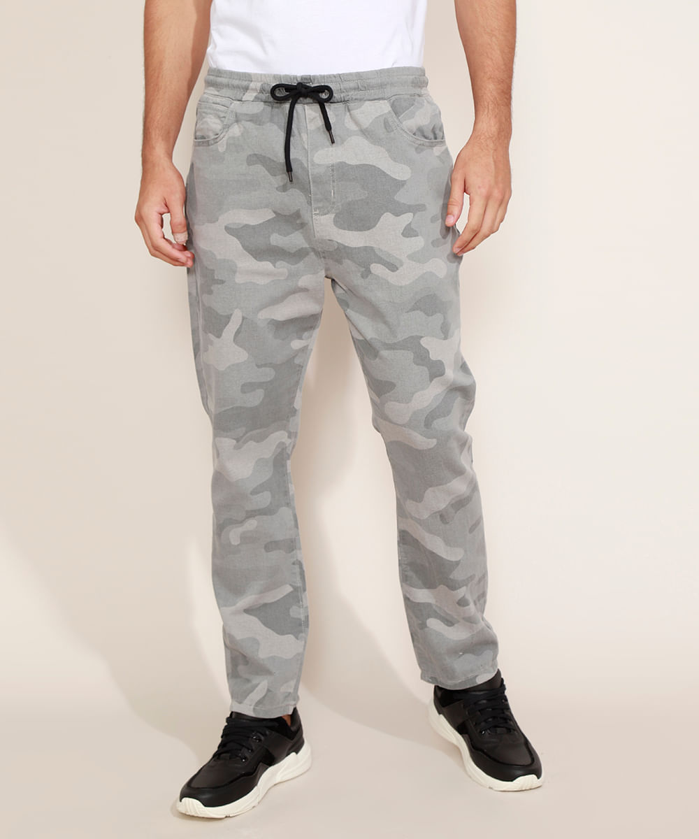 Calça de Sarja Masculina Jogger Skinny Estampada Camuflada Cinza