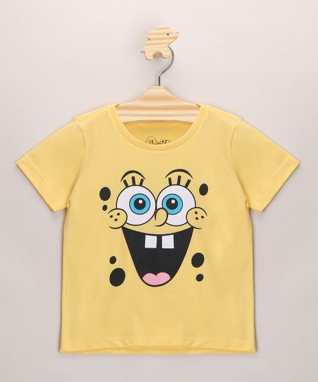 Camiseta-Infantil-Bob-Esponja-Manga-Curta-Amarela-9971479-Amarelo_1