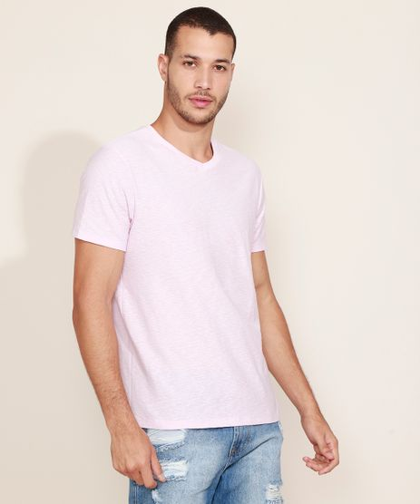 Camiseta-Masculina-Basica-Flame-Manga-Curta-Gola-V-Rosa-Claro-9595137-Rosa_Claro_1_1