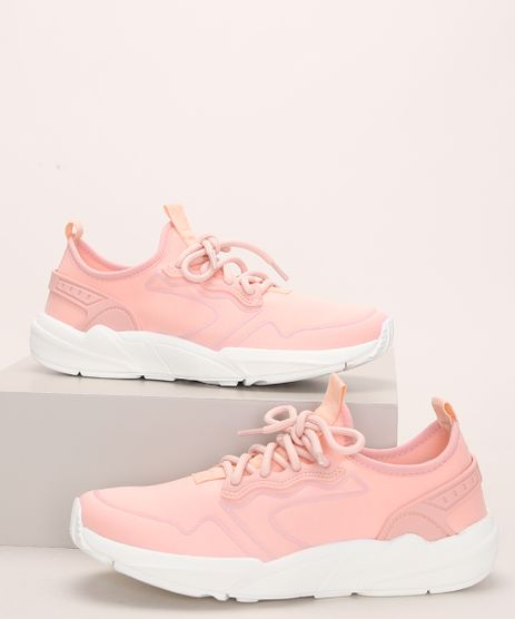 Tenis-de-Neoprene-Feminino-Oneself-Chunky-Sneaker-com-Cadarco-Coral-9972828-Coral_1