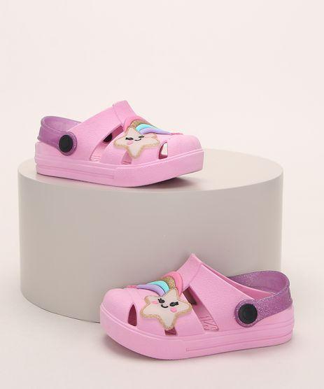 Babuche-Infantil-LueLua-Estrela-e-Arco-Iris-com-Glitter-Rosa-9974387-Rosa_1