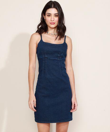 Vestido-Jeans-Feminino-Curto-com-Pregas-Alca-Fina-Azul-Escuro-9969053-Azul_Escuro_1