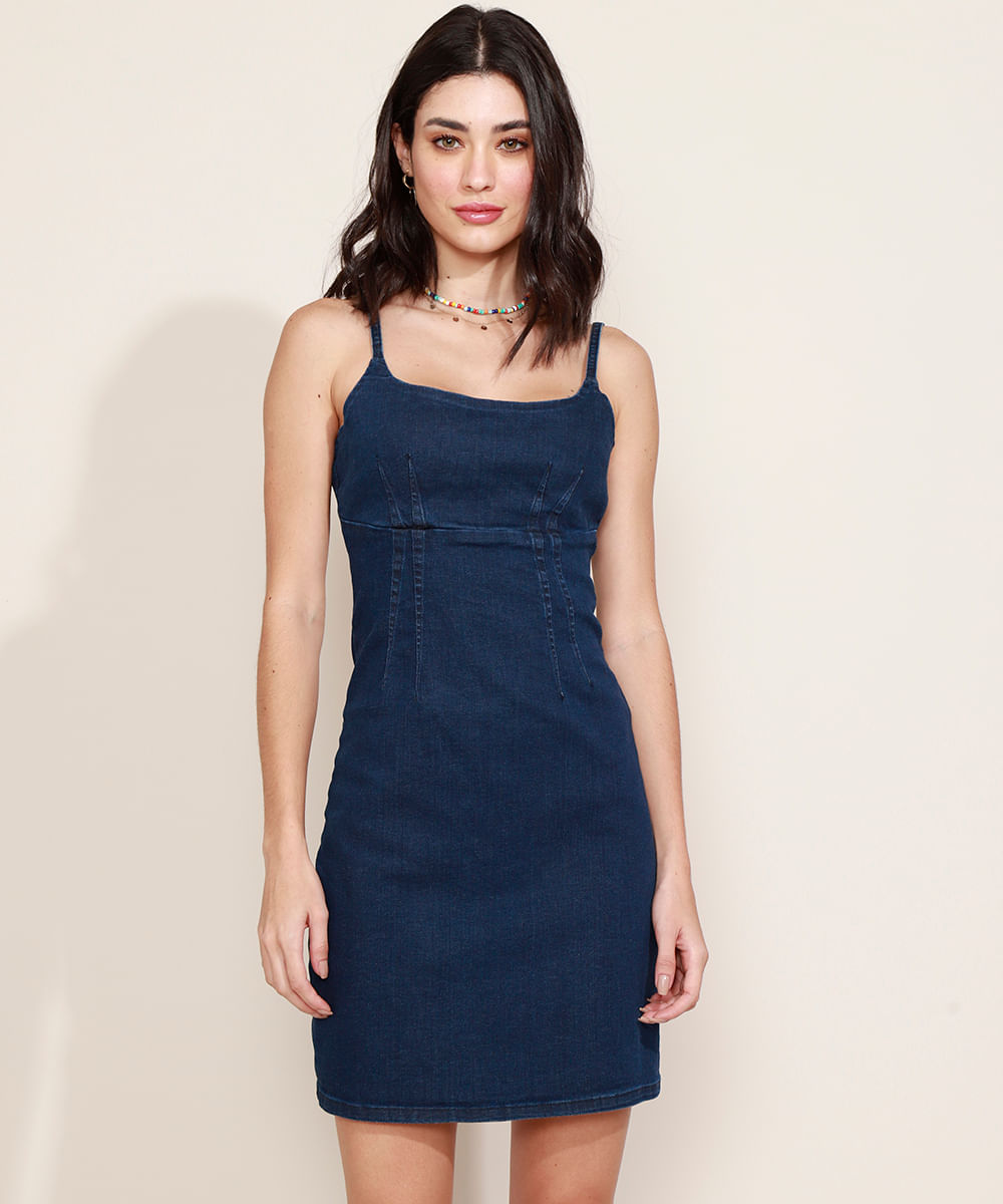 Vestido Jeans Feminino Curto com Pregas Alça Fina Azul Escuro
