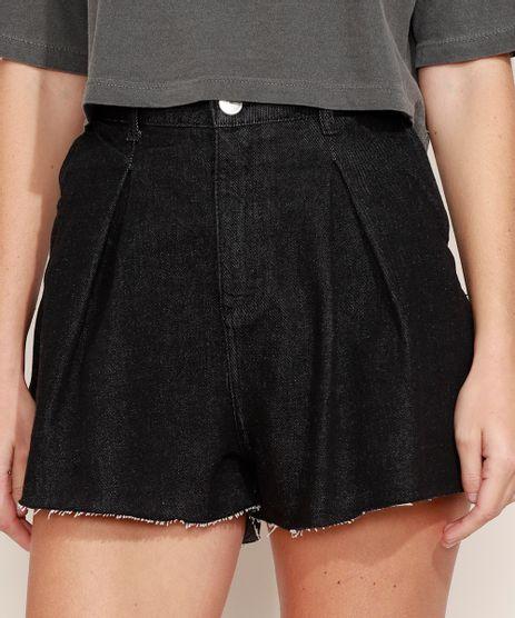 Short-Jeans-Feminino-Mindset-Gode-Cintura-Alta-com-Pregas-Preto-9980414-Preto_1
