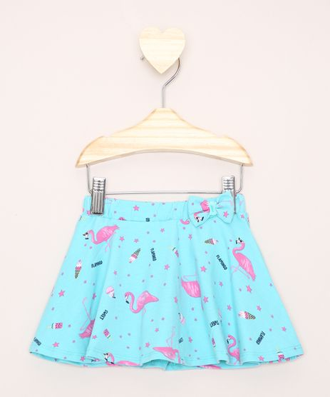 Short-Saia-Infantil-Estampado-Flamingos-Verde-Agua-9979133-Verde_Agua_1