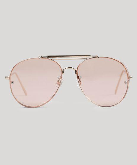 ff611a9a2839a Óculos de Sol Aviador Feminino Oneself Dourado - cea