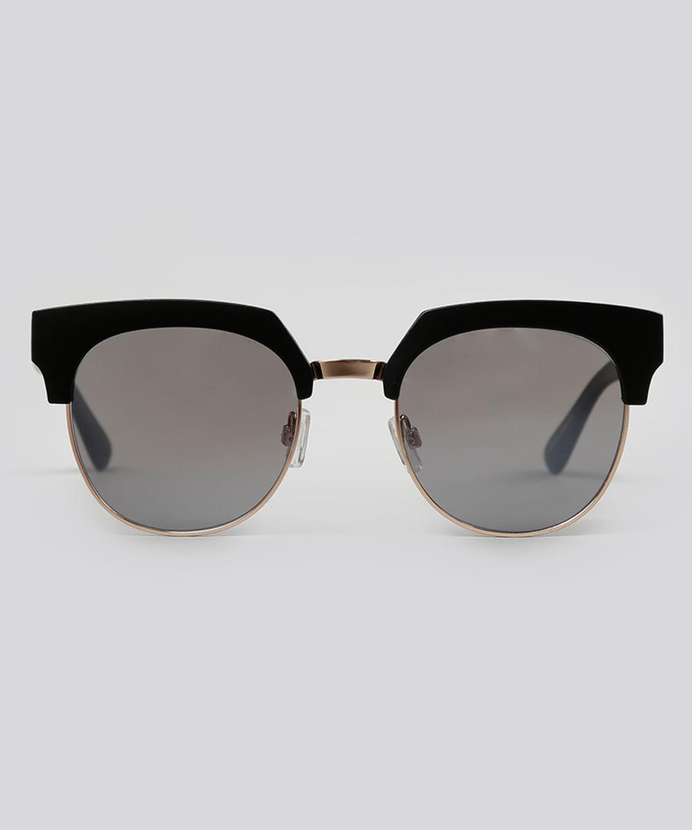 Óculos de Sol Redondo Feminino Oneself Preto - ceacollections 4f78cb12ec