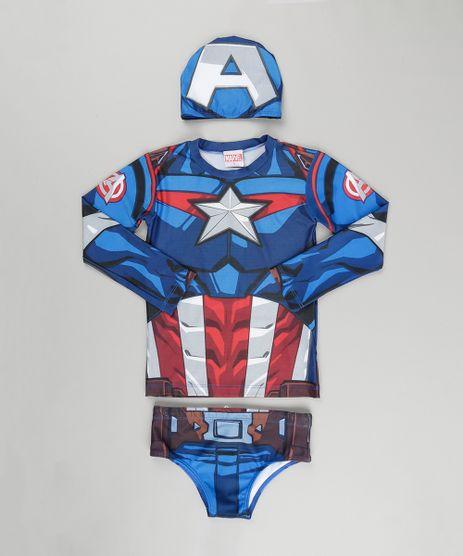 Conjunto-de-Camiseta-Sunga-e-Toca-Capitao-America-com-Protecao-UV-50--Azul-8797483-Azul_1