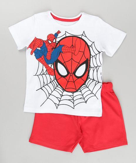 Conjunto-de-Camiseta-Branca---Bermuda-Homem-Aranha-Vermelha-8749753-Vermelho_1