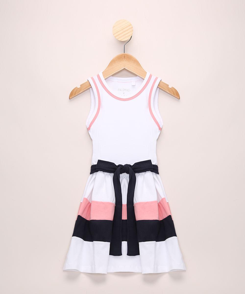 Vestido Infantil com Recortes e Laço Sem Manga Branco