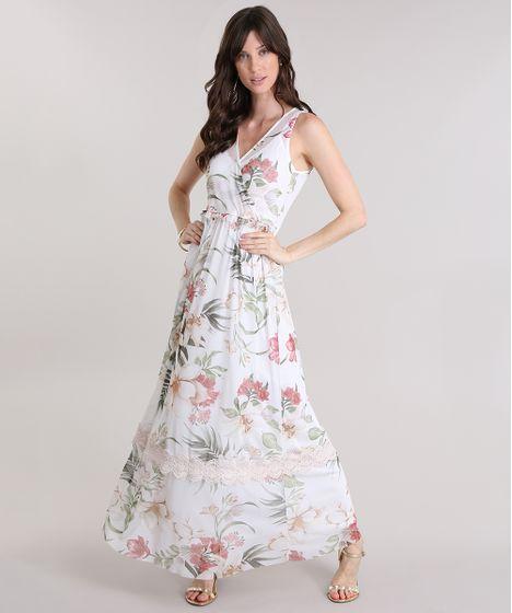 17336f537 Vestido Longo em Tule Estampado Floral com Renda Off White - cea