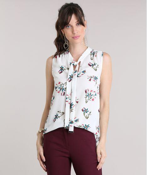 00714239ac Regata Estampada Floral com Gola Laço Off White - cea