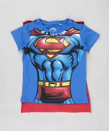 Camiseta-Super-Homem-com-Capa-em-Algodao---Sustentavel-Azul-8523269-Azul_1