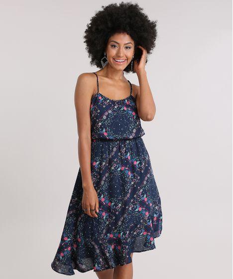 Tela de Poliéster Azul Marino Floral Vestido