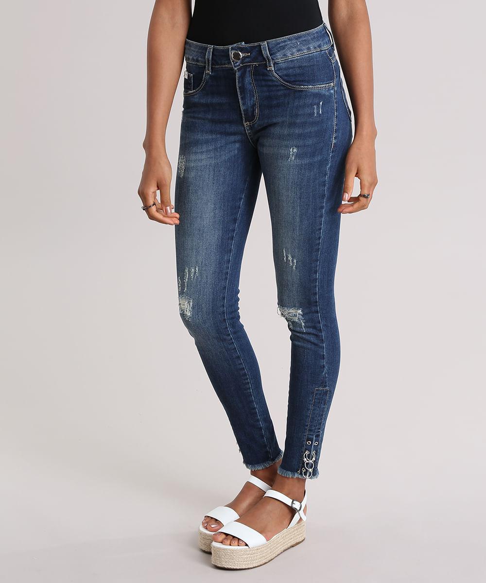 a570e42d1 Calça Jeans Super Skinny Sawary com Argolas Azul Escuro - ceacollections