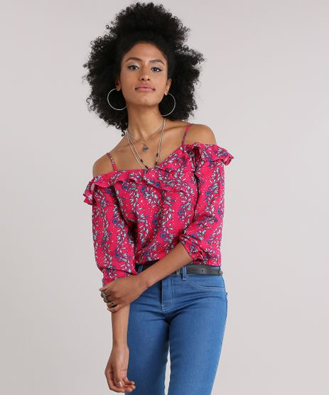 Blusa-Open-Shoulder-Estampada-Floral-com-Babados-Rosa-Escuro-8837499-Rosa_Escuro_1