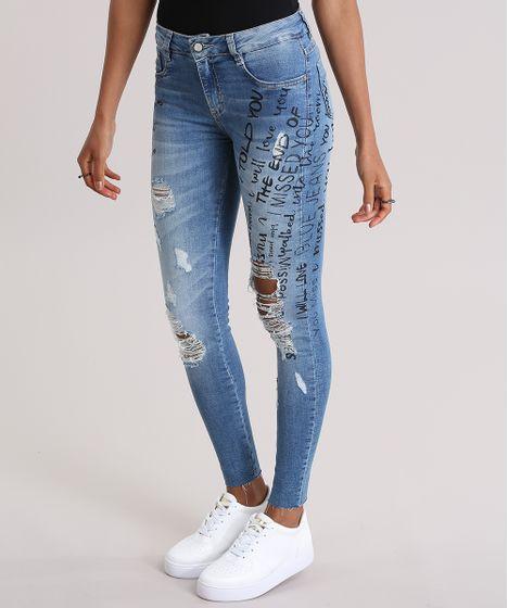 ad88eb7ea Calça Jeans Super Skinny Destroyed Sawary Estampada Azul Claro - cea