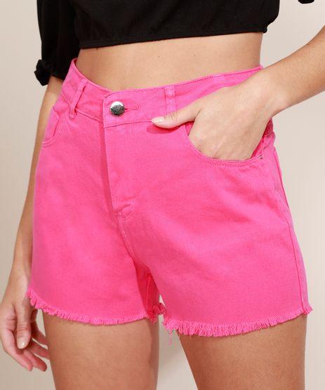 Short-de-Sarja-Feminino-Sawary-Boy-Cintura-Alta-com-Barra-Desfiada-Pink-9976442-Pink_1