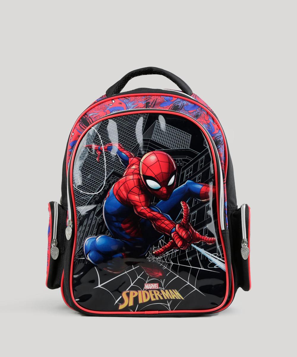 c76d5a447 Mochila Escolar Infantil Homem Aranha de Costas Preta - cea