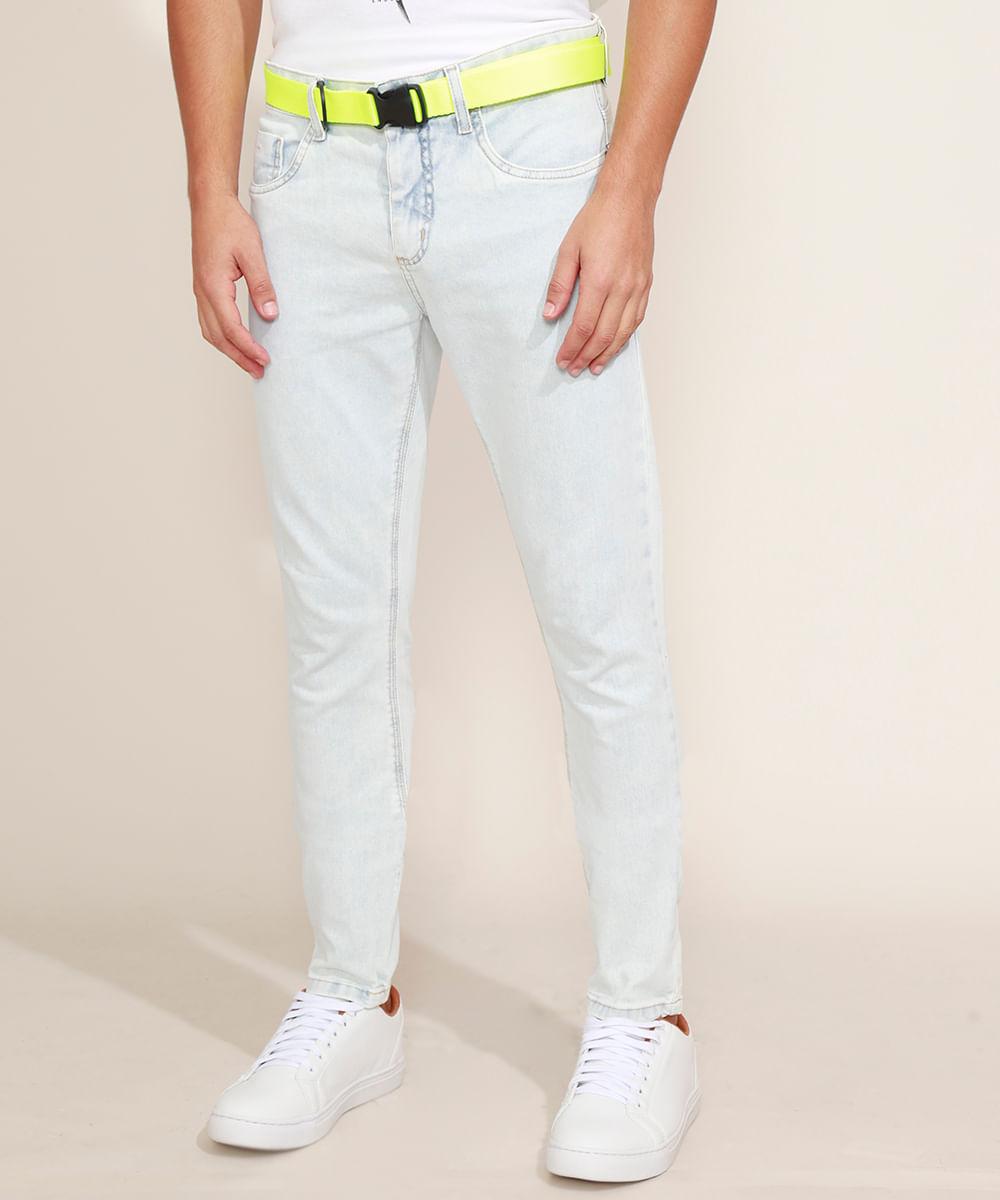 Calça Jeans Masculina Super Skinny com Cinto Jeans Claro