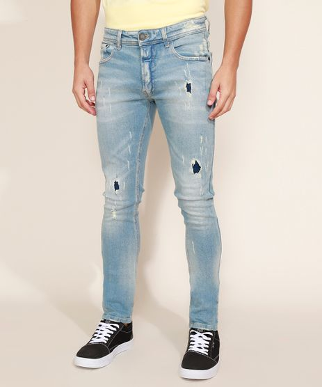 Calca-Jeans-Masculina-Skinny-Destroyed-Jeans-Medio-9966826-Jeans_Medio_1