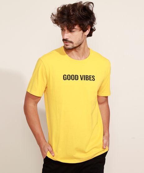 Camiseta-Masculina--Good-Vibes--Manga-Curta-Gola-Careca-Amarela-9969727-Amarelo_1