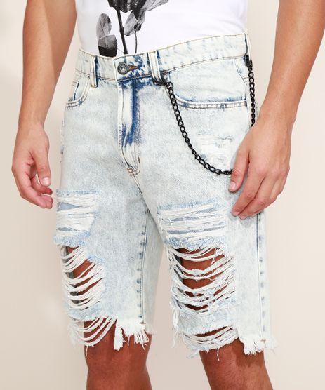 Bermuda-Jeans-Masculina-Slim-Destroyed-com-Corrente-Azul-Claro-9970613-Azul_Claro_1