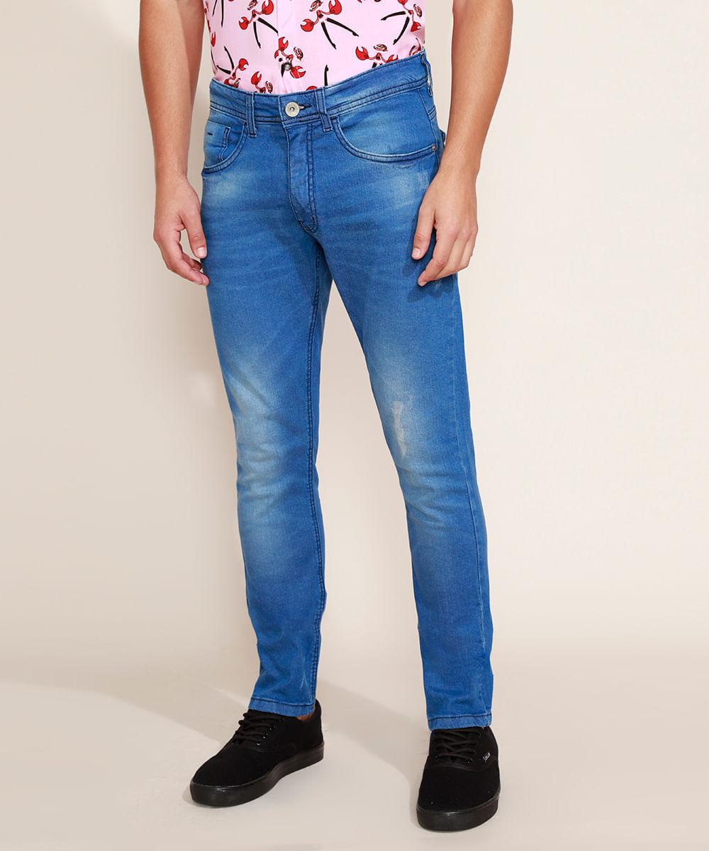 Calça Jeans Masculina Slim com Puídos Jeans Médio