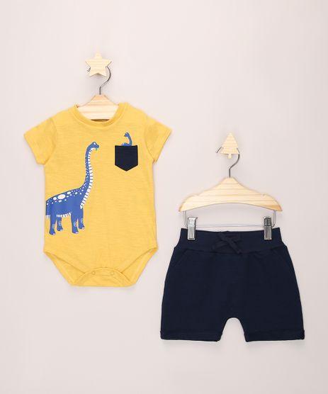 Conjunto-Infantil-de-Body-Dinossauro-Manga-Curta-Amarelo---Short-de-Moletom-Azul-Marinho-9974757-Azul_Marinho_1