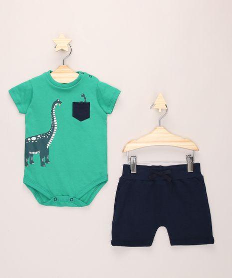 Conjunto-Infantil-de-Body-Dinossauro-Manga-Curta-Verde---Short-de-Moletom-Azul-Marinho-9974756-Azul_Marinho_1