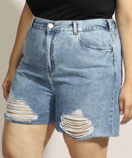 Short-Jeans-Feminino-Plus-Size-Mindset-Cintura-Super-Alta-Destroyed-Marmorizado-com-Barra-a-Fio-Azul-Claro-9975958-Azul_Claro_1