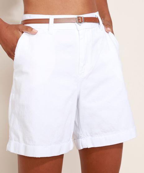 Bermuda-de-Sarja-Feminina-Cintura-Alta-Alfaiatada-com-Cinto-Branca-9967354-Branco_1