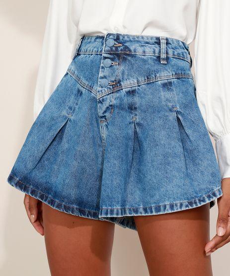 Short-Jeans-Feminino-Sawary-Gode-Cintura-Alta-com-Bolsos-Azul-Medio-9976438-Azul_Medio_1