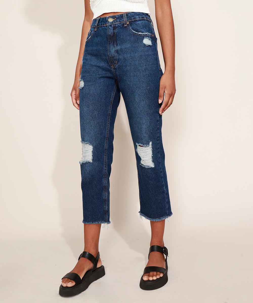 Calça Jeans Feminina Reta Destroyed Cintura Alta Azul Escuro