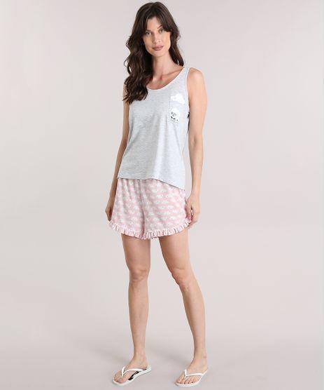 Pijama-Ovelha-com-Estampa-de-Nuvens-Cinza-Mescla-Claro-8977180-Cinza_Mescla_Claro_1