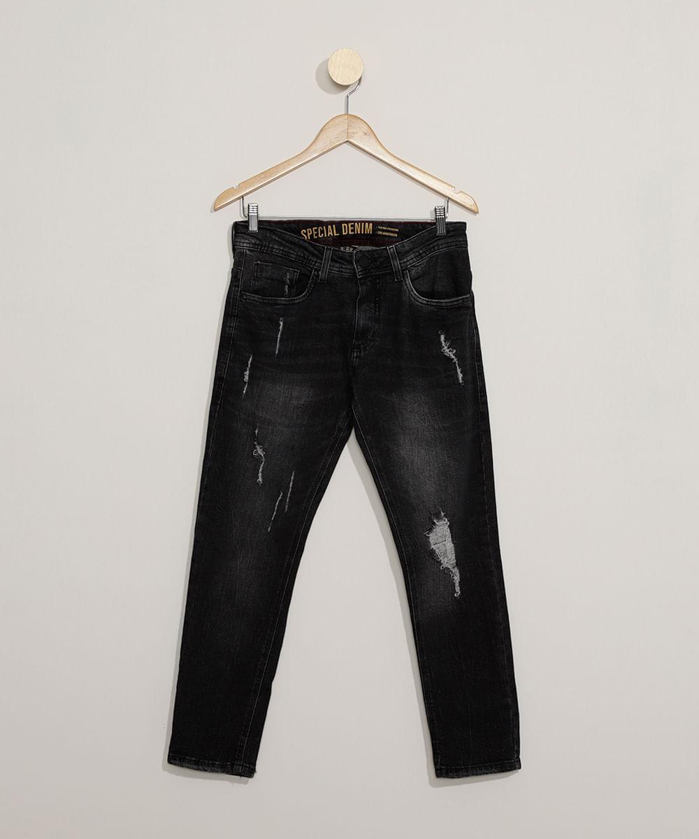 Calça Jeans Masculina Slim Cropped Destroyed Preta