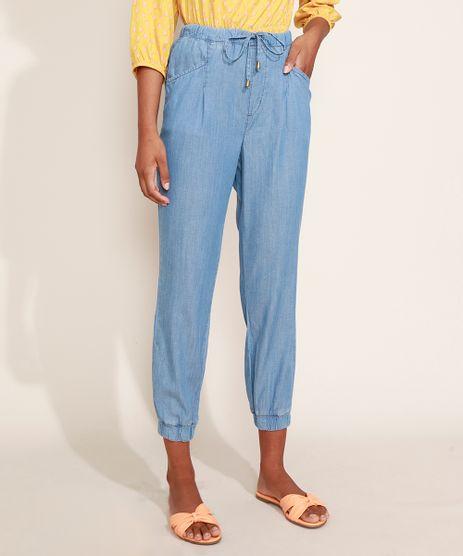 Calca-Jeans-Feminina-Jogger-Cintura-Alta-com-Bolsos-Azul-Claro-9967764-Azul_Claro_1
