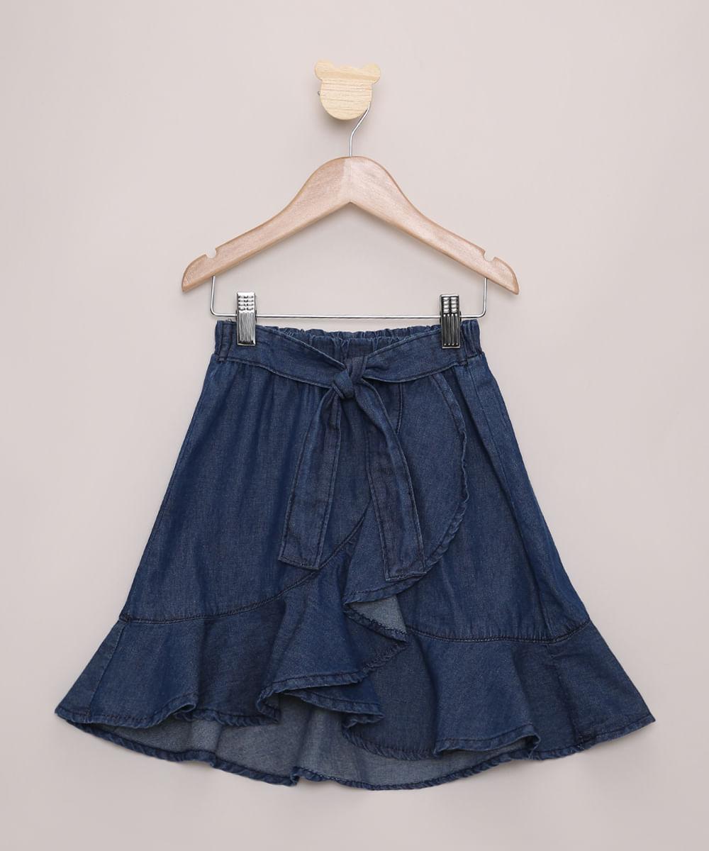 Saia Jeans Infantil Midi Transpassada com Babados Azul Escuro