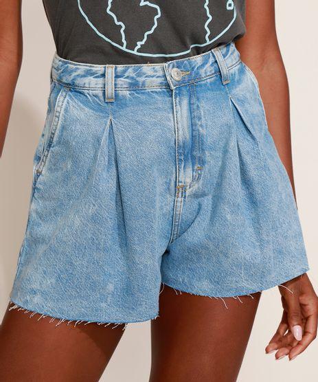 Short-Jeans-Feminino-Mindset-Gode-Cintura-Alta-Marmorizado-com-Pregas-Azul-Claro-9980414-Azul_Claro_1