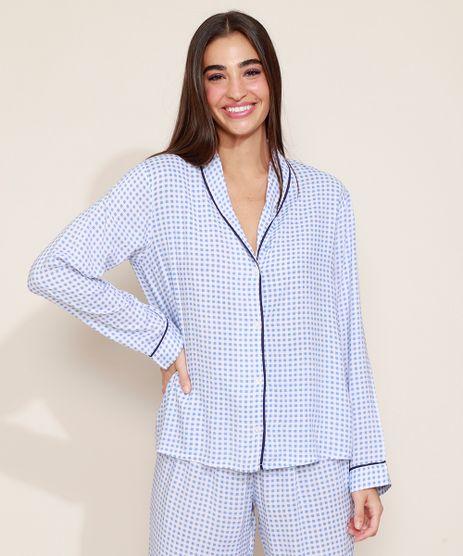 Camisa-de-Pijama-Feminina-Estampada-Xadrez-Vichy-com-Vivo-Contrastante-Manga-Longa-Azul-9954382-Azul_1