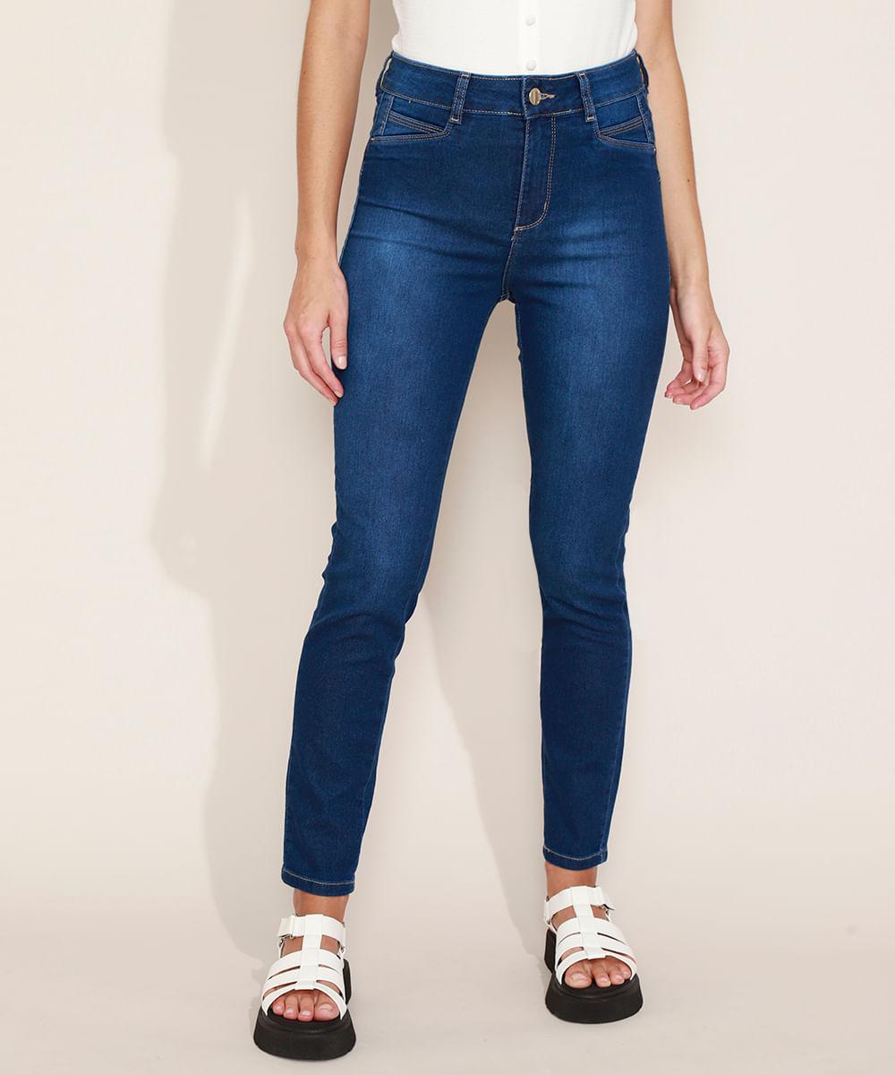 Calça Jeans Feminina Sway Super Skinny Heart Cintura Alta com Bolsos Azul Médio