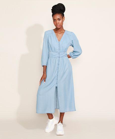 Vestido-Jeans-Feminino-Mindset-Midi-com-Botoes-e-Fenda-Manga-7-8-Azul-Claro-9981509-Azul_Claro_1