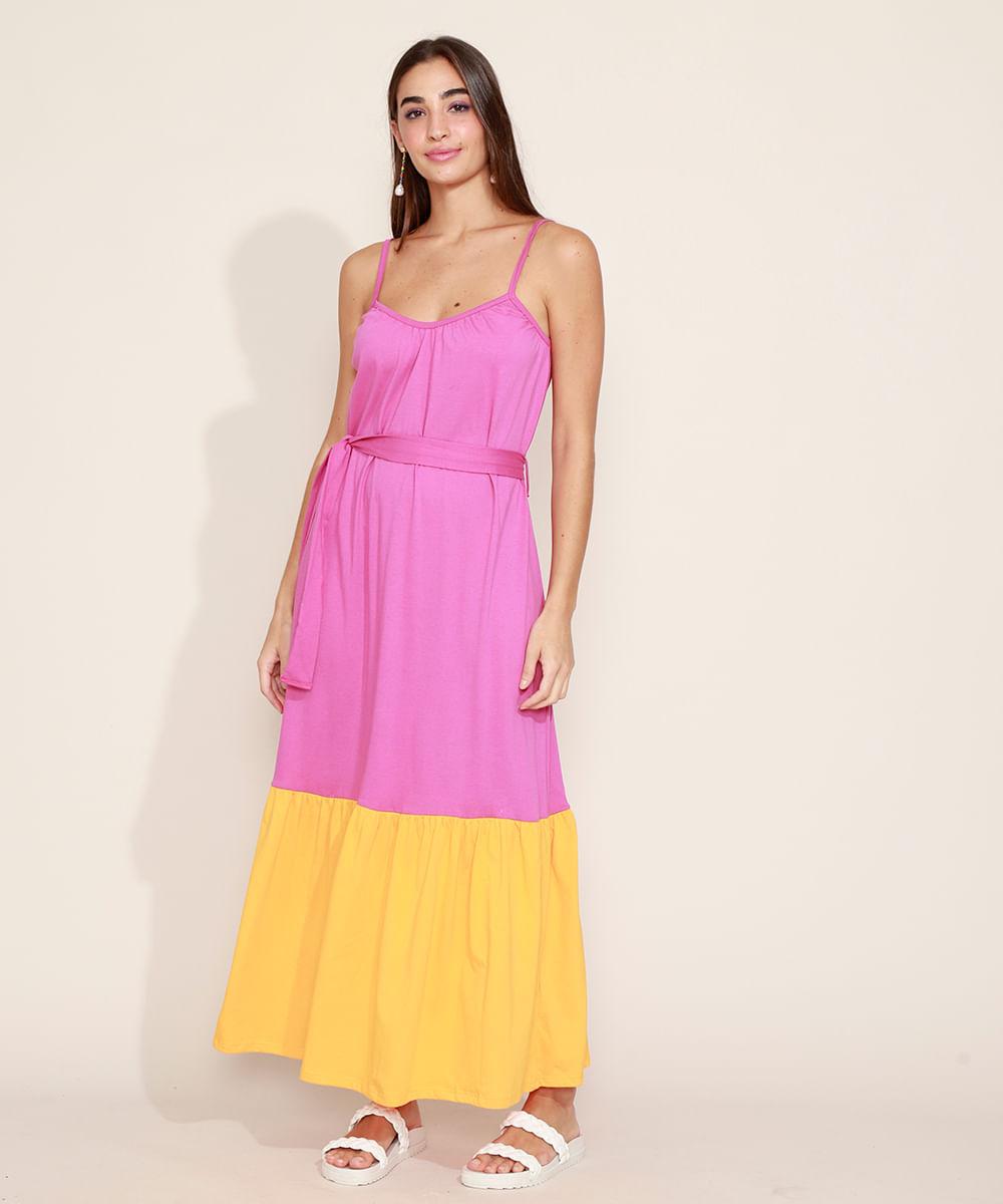 Vestido Feminino Longo com Recorte Faixa para Amarrar Alças Finas Pink