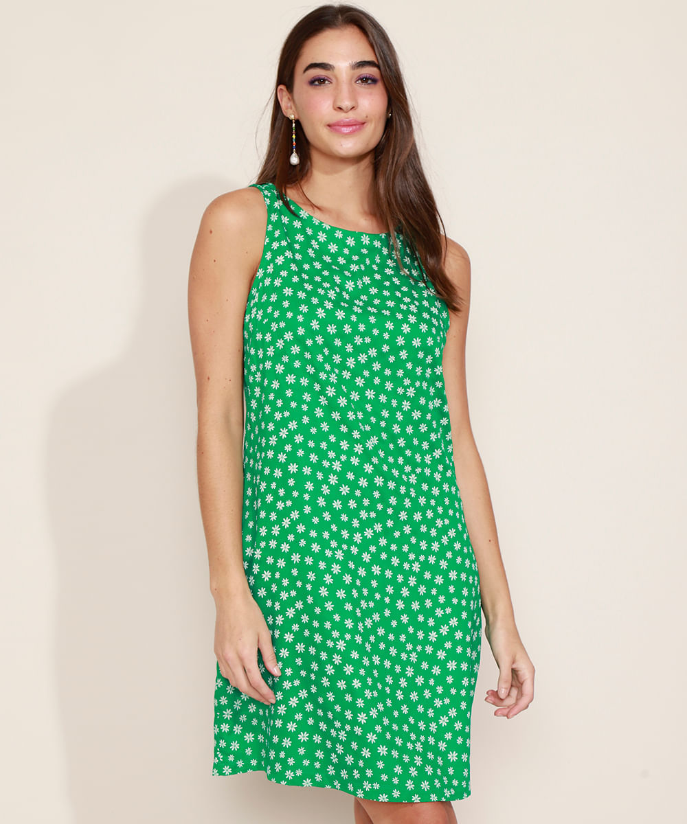 Vestido Feminino Curto Estampado Floral Alças Médias Verde