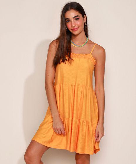 Vestido-Feminino-Curto-Texturizado-com-Recortes-Alca-Fina-com-Laco-Mostarda-9978524-Mostarda_1