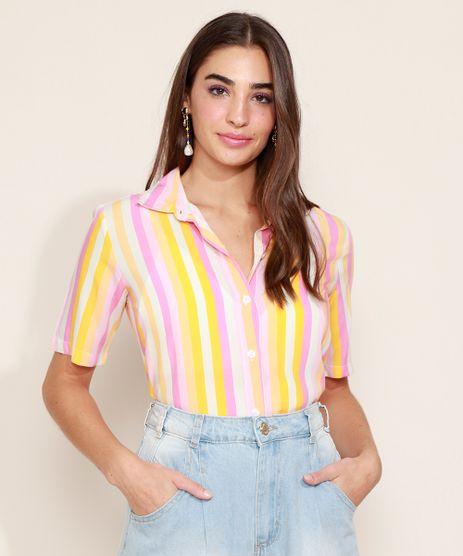 Camisa-Feminina-Listrada-Manga-Curta-Rosa-9965911-Rosa_1